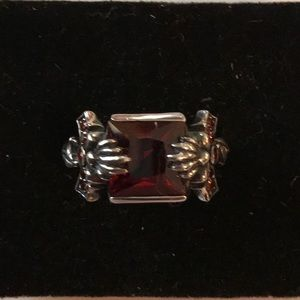 Garnet Cross Ring
